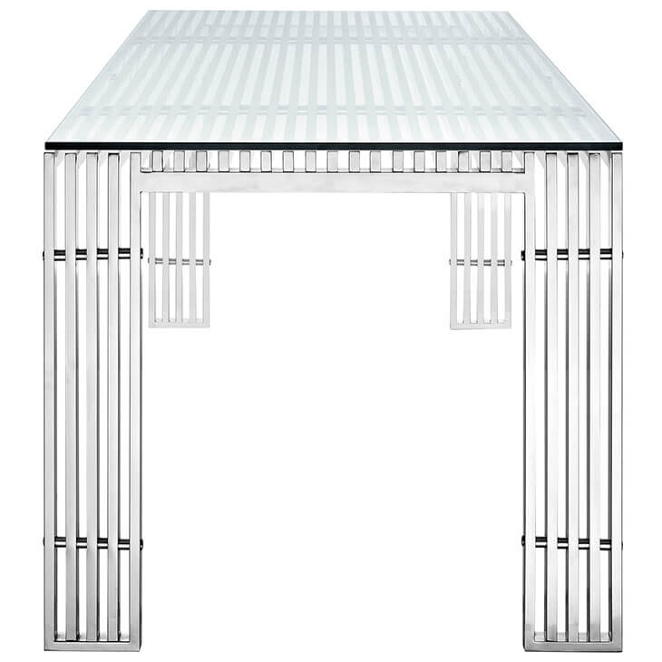 glass chrome rectangular dining table