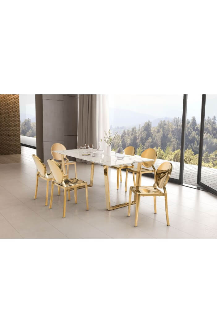 White Marble Gold Dining Table Modern Furniture