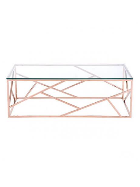 aero rose gold glass coffee table