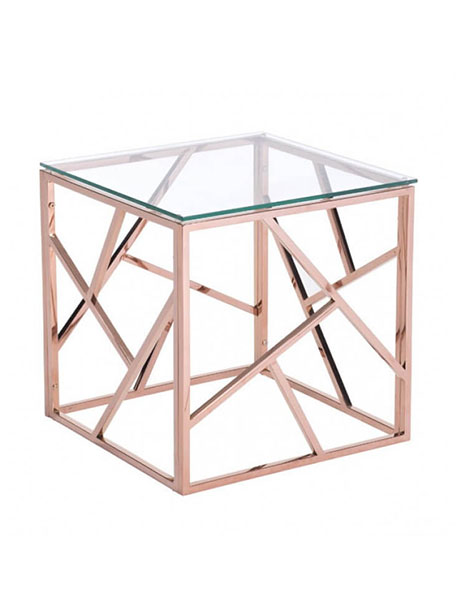 aero rose gold glass side table