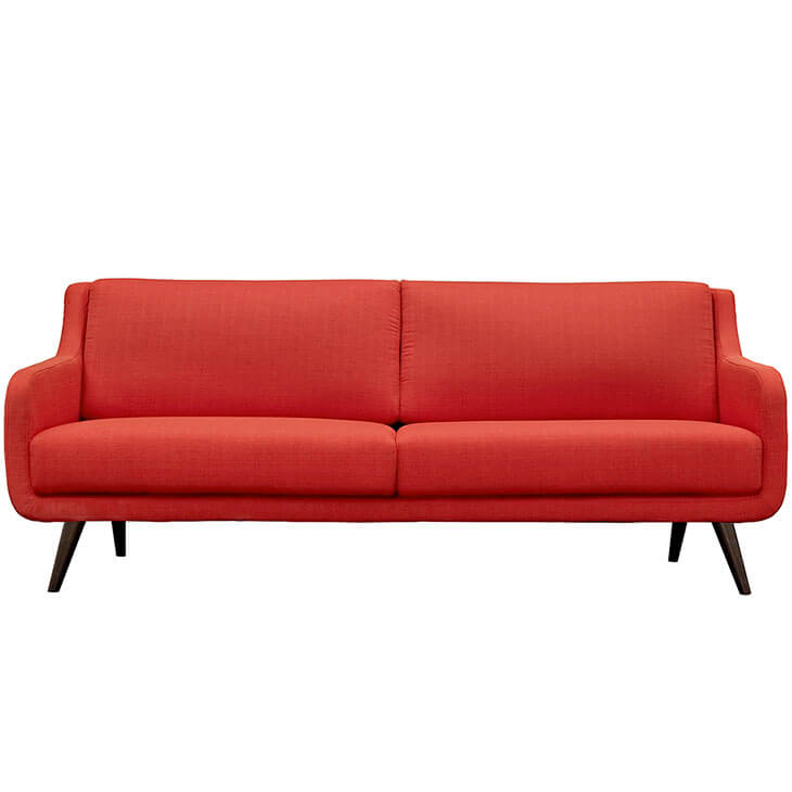 archive red fabric sofa