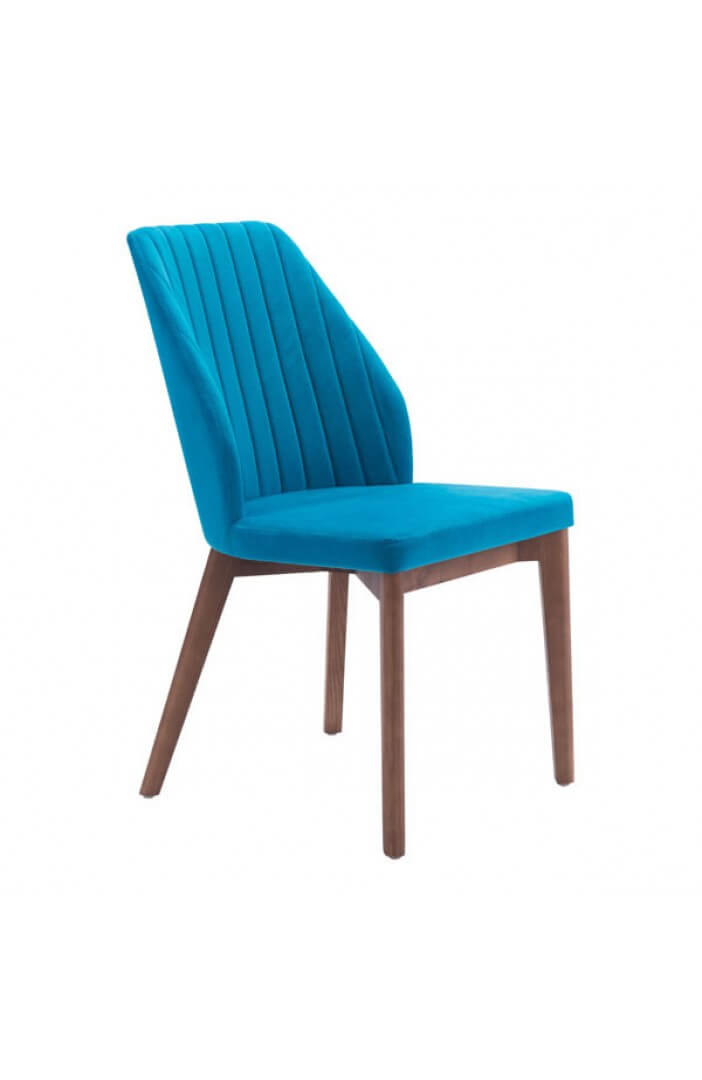 mid century blue velvet dining chair