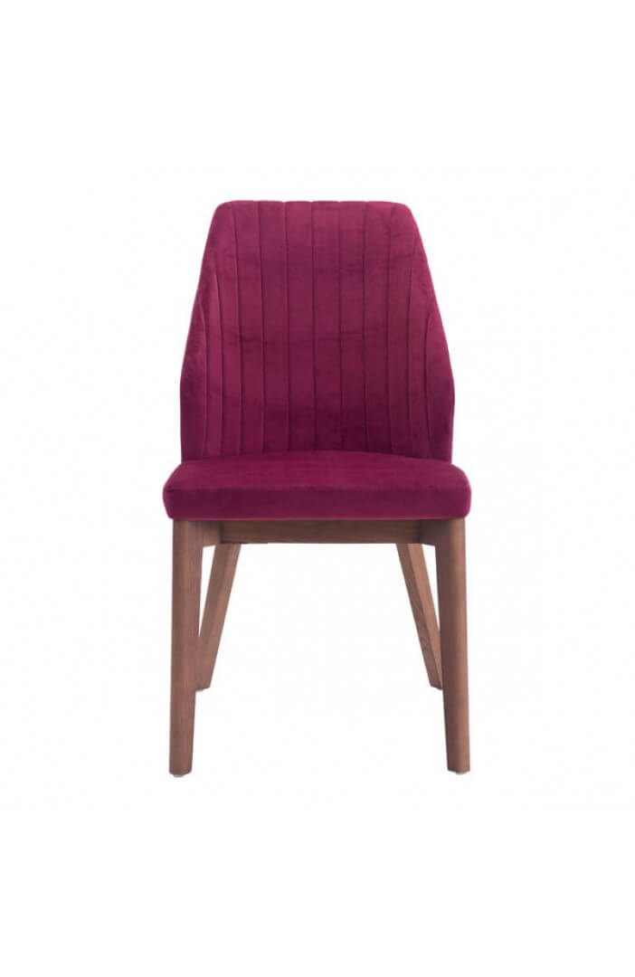wood red velvet chair