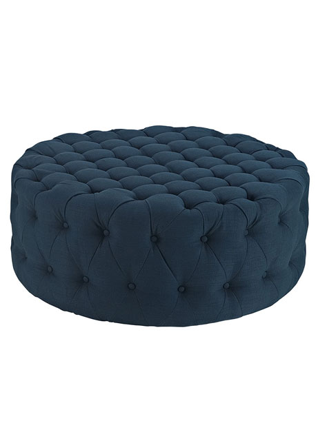 Round Tufted Fabric Ottoman