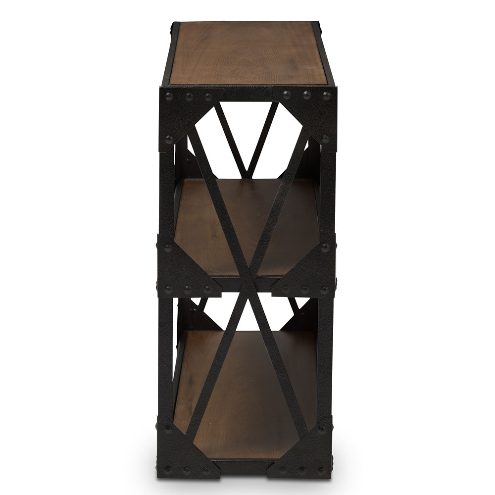 black iron wood console table 2
