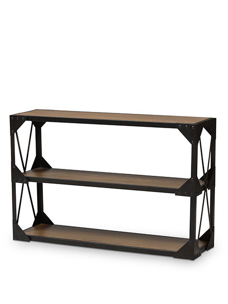 black iron wood console table