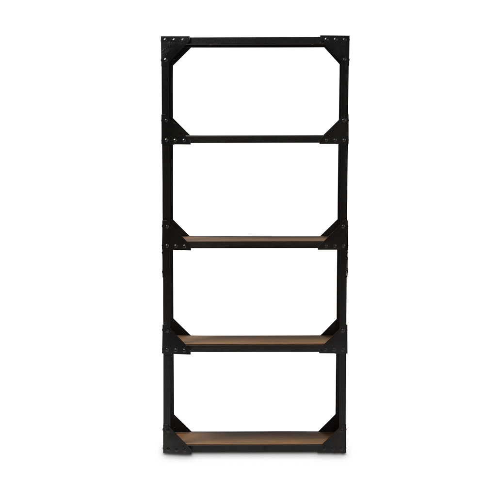 black iron wood shelving unit 1