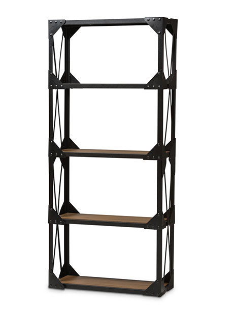 black iron wood shelving unit