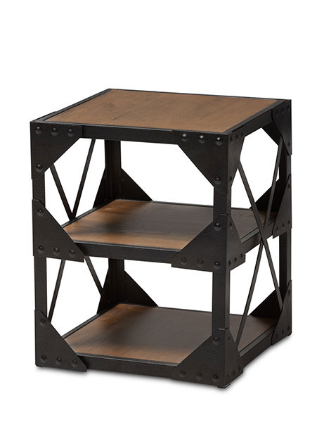 black iron wood side table