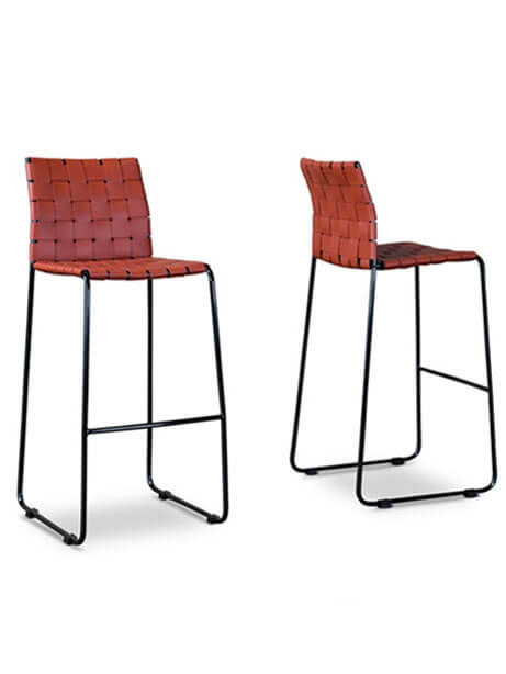 bonded leather woven barstool