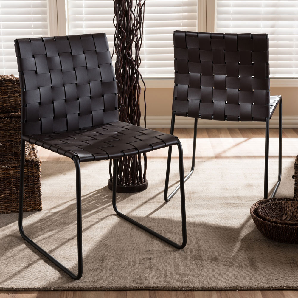 bonded leather woven chair brown 5