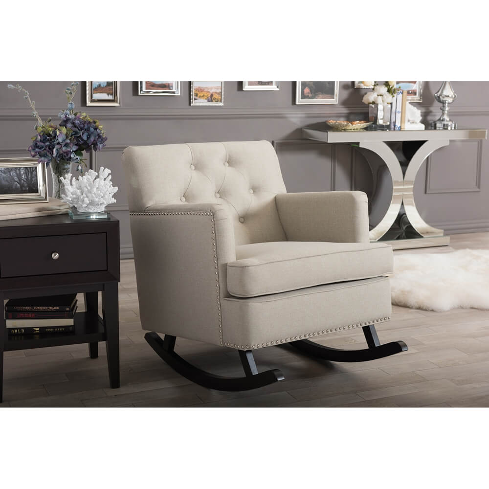 deluxe plush rocking chair beige 5