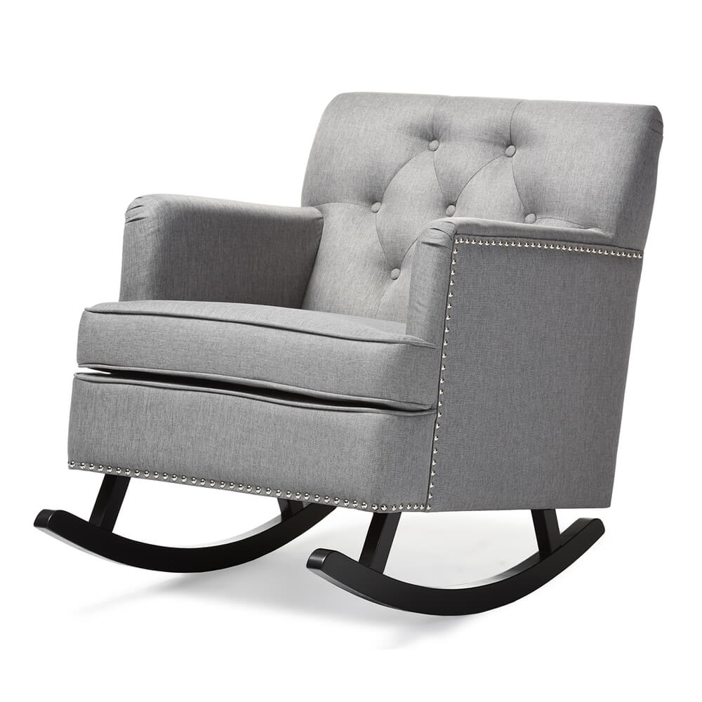deluxe plush rocking chair gray 2