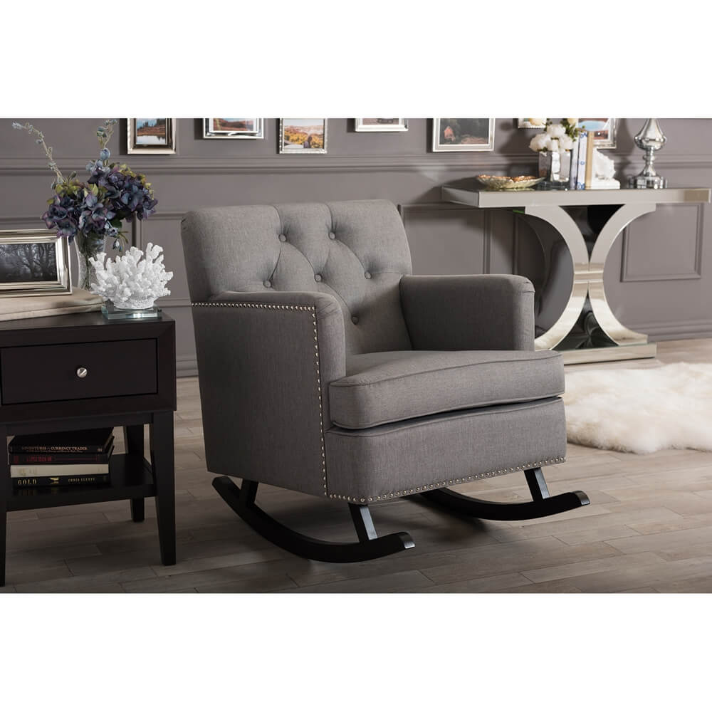deluxe plush rocking chair gray 5