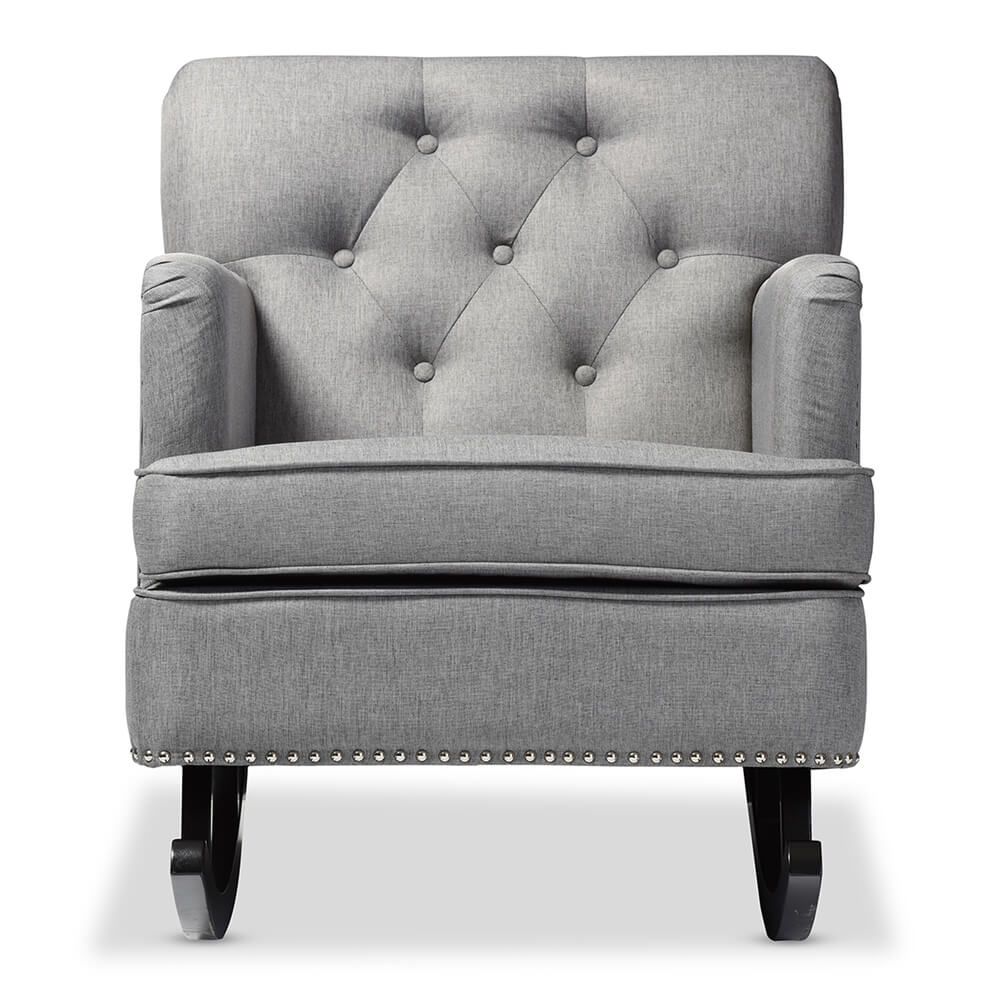 deluxe plush rocking chair gray