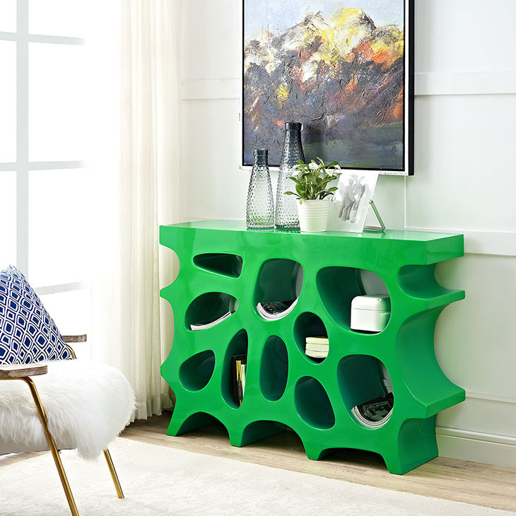 hive small console table green 3
