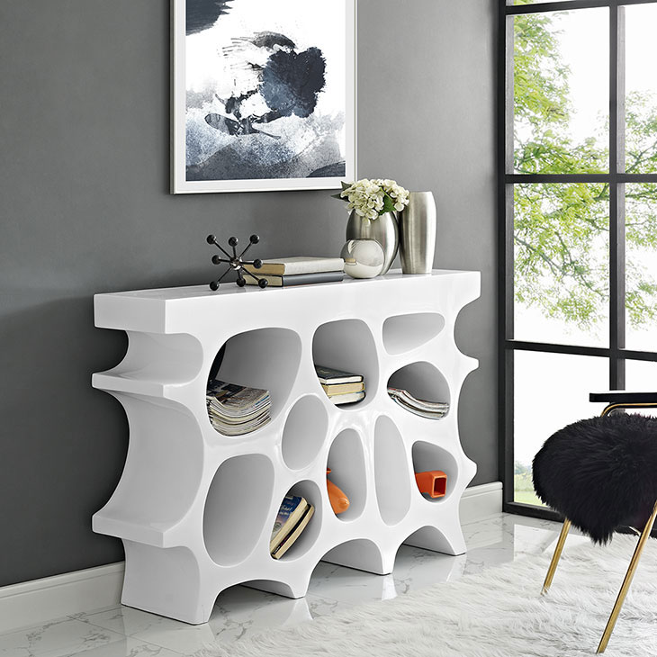 hive small console table white 3