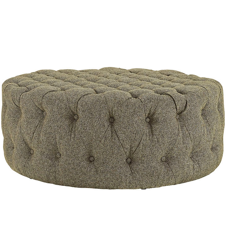 round tufted fabric ottoman beige 2