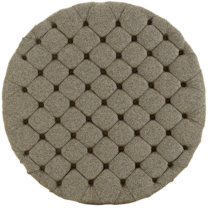 round tufted fabric ottoman beige 3
