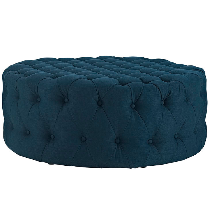 Round Tufted Fabric Ottoman Modern Furniture Brickell Collection