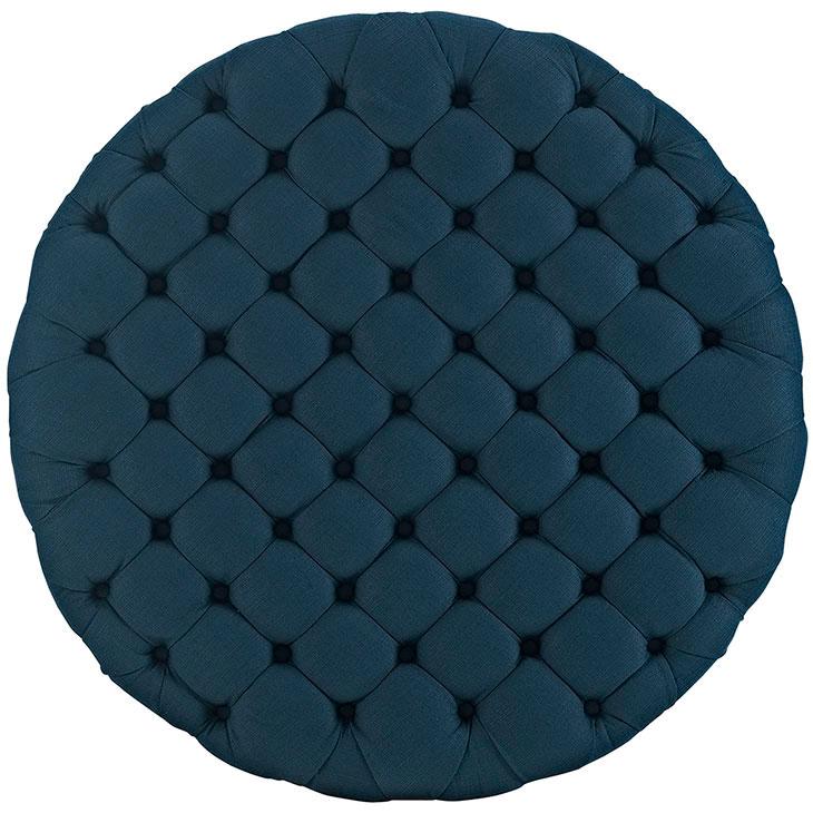 round tufted fabric ottoman dark blue 3