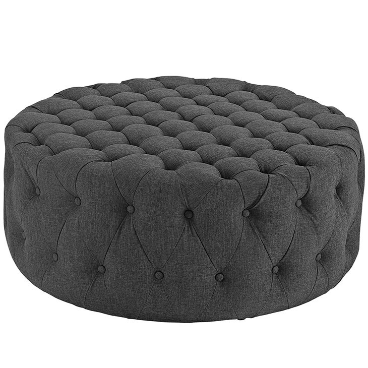 Round Tufted Fabric Ottoman Modern Furniture Brickell