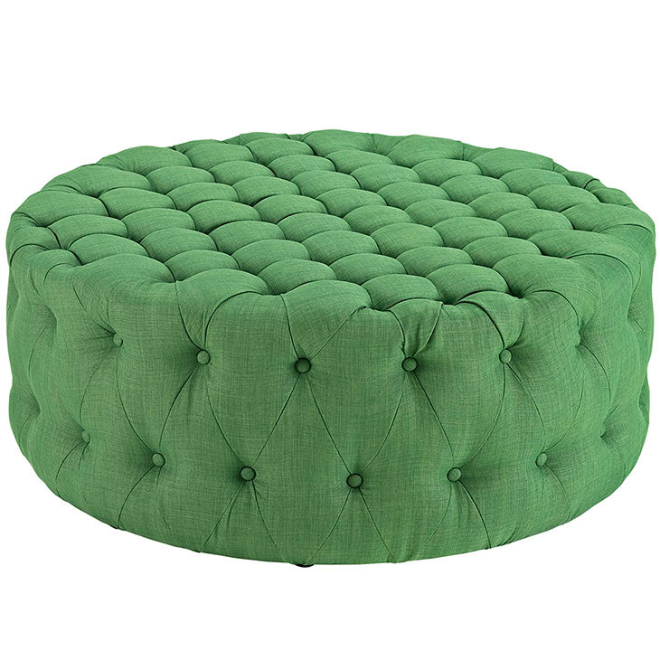 round tufted fabric ottoman green 1