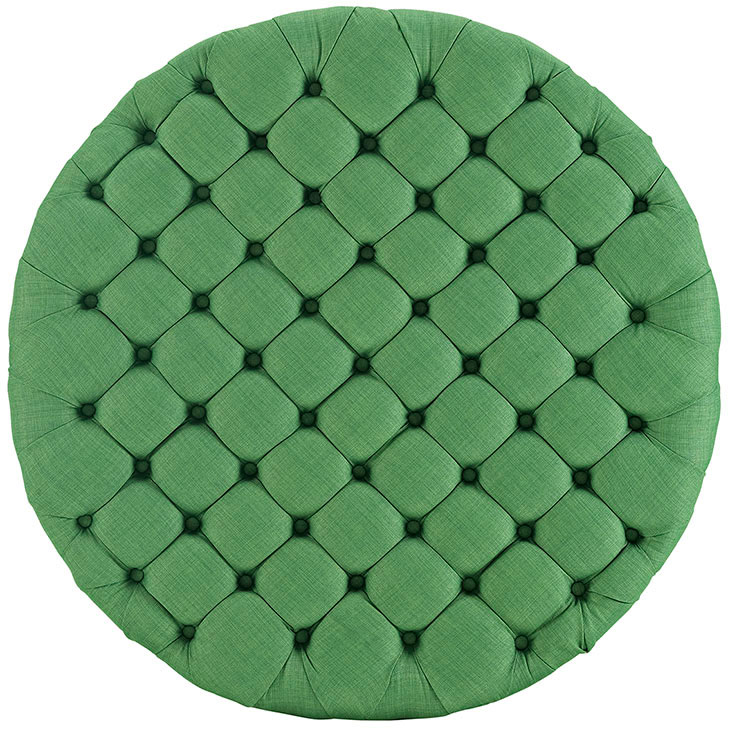 round tufted fabric ottoman green 3