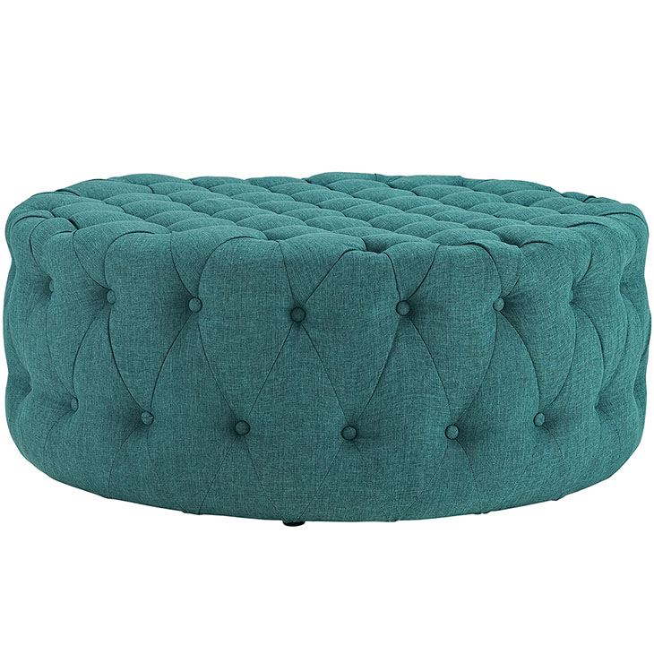 round tufted fabric ottoman turquoise 2