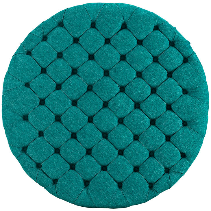 round tufted fabric ottoman turquoise 3