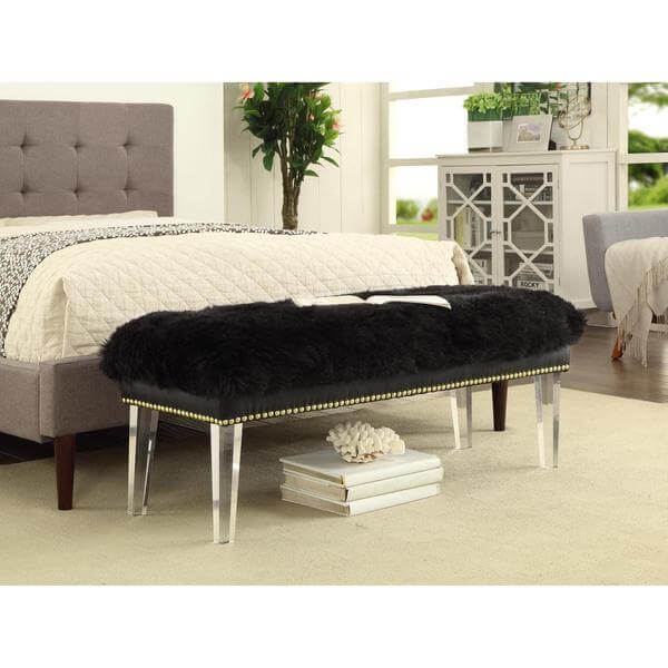 sheepskin puff bench black 4