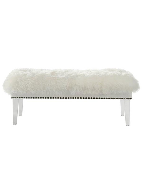 sheepskin puff bench