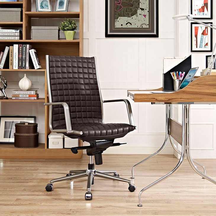stock high back office chair brown 4