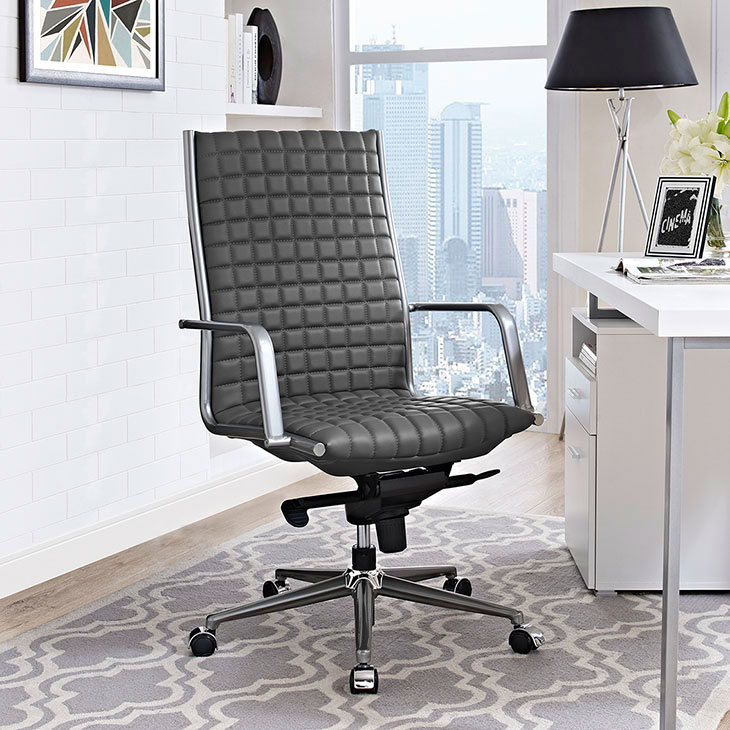 stock high back office chair gray 4
