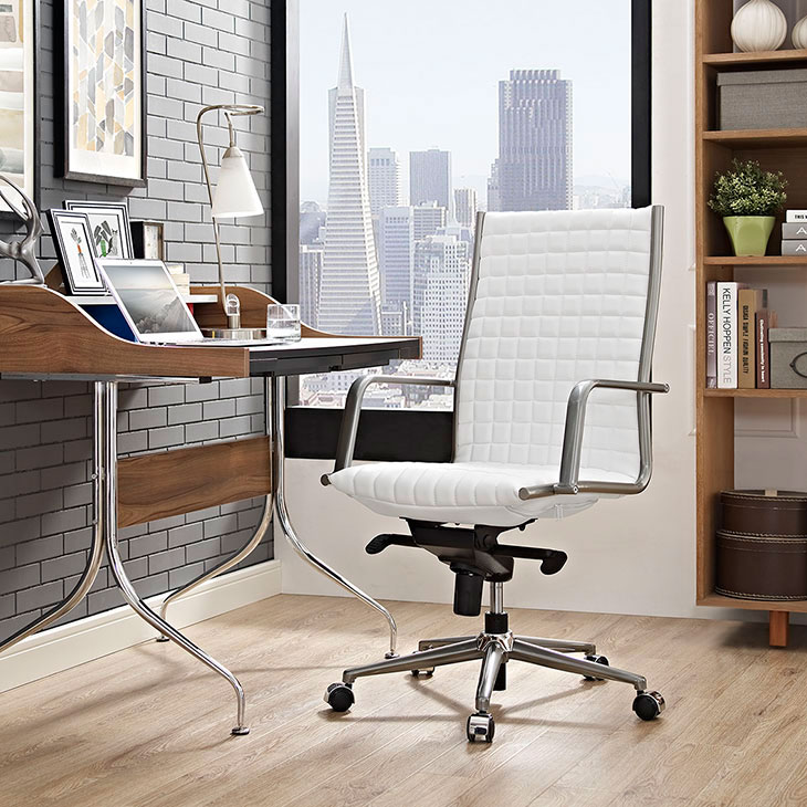 stock high back office chair white 4