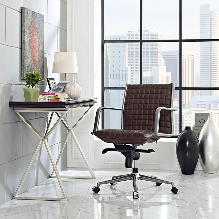 stock mid back office chair brown 4