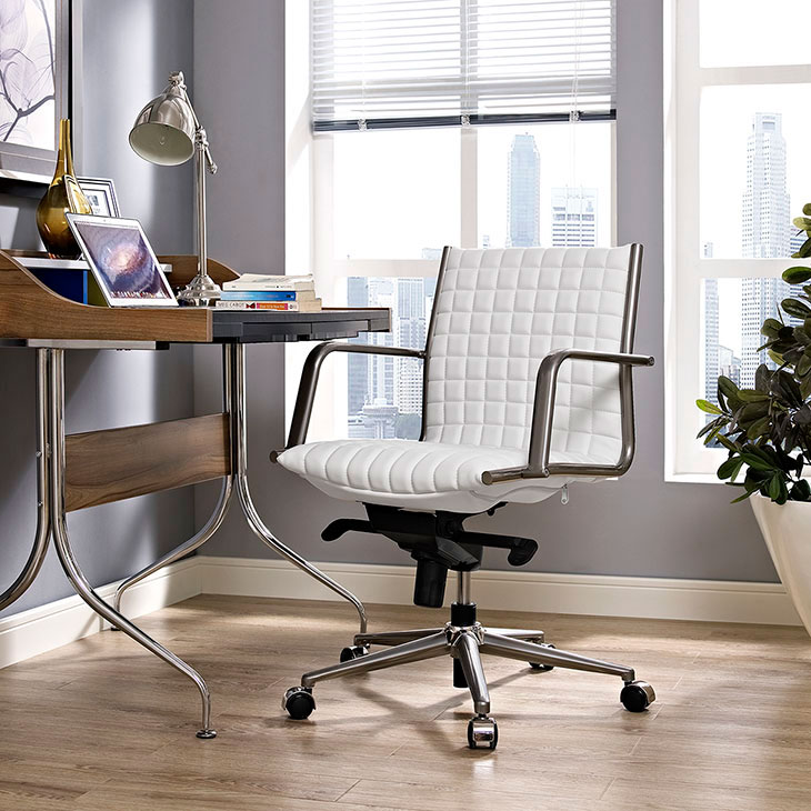 stock mid back office chair white 3