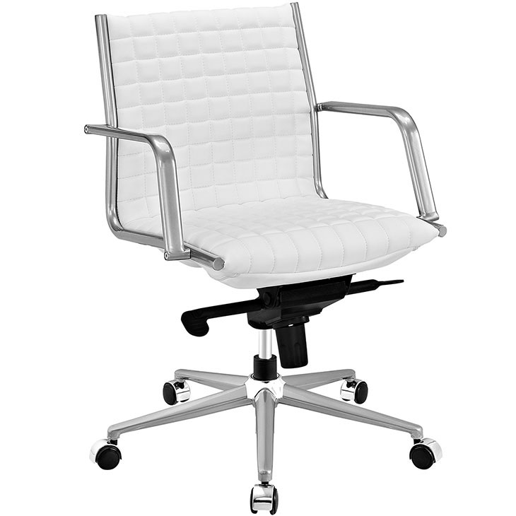 stock mid back office chair white
