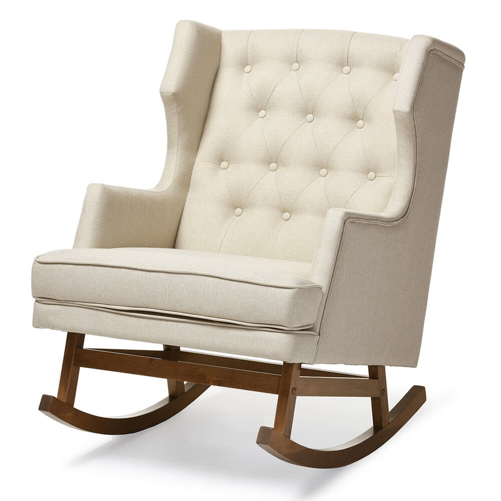 tufted wingback rocking chair beige