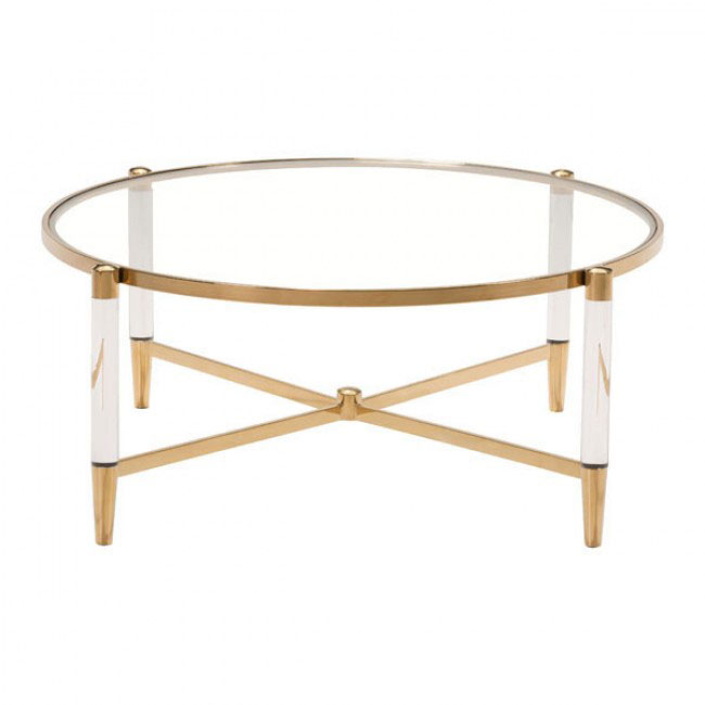 Clear Acryclic Gold Round Coffee Table 2