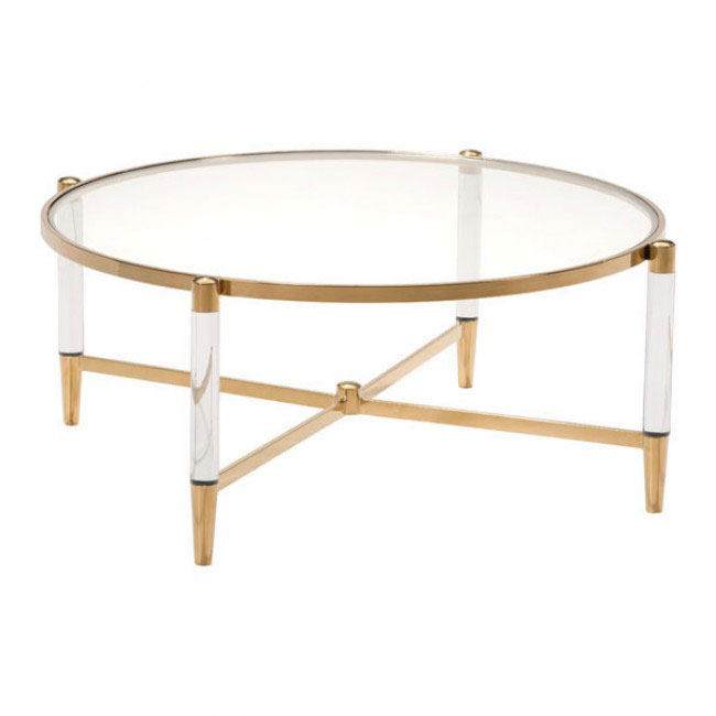 Clear Acrylic Gold Round Coffee Table  Modern Furniture • Brickell Collection
