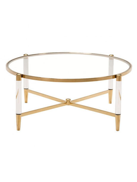 Clear Acryclic Gold Round Coffee Table