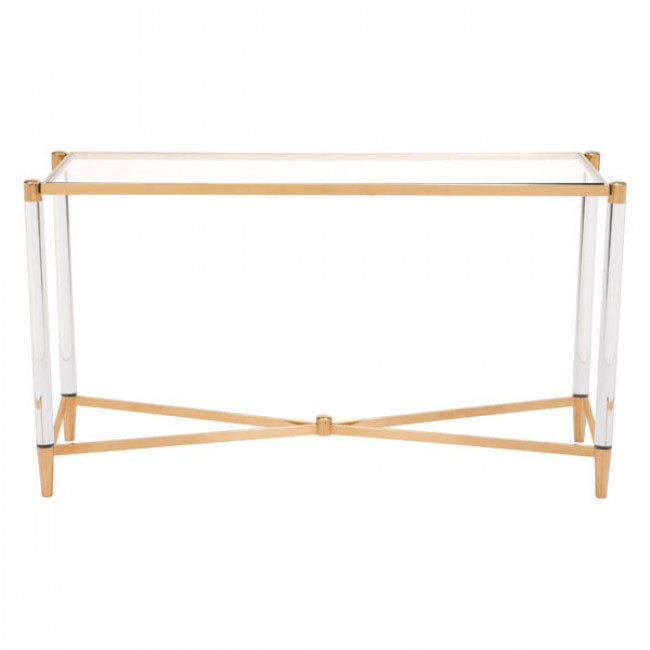 clear acrylic gold console table 1