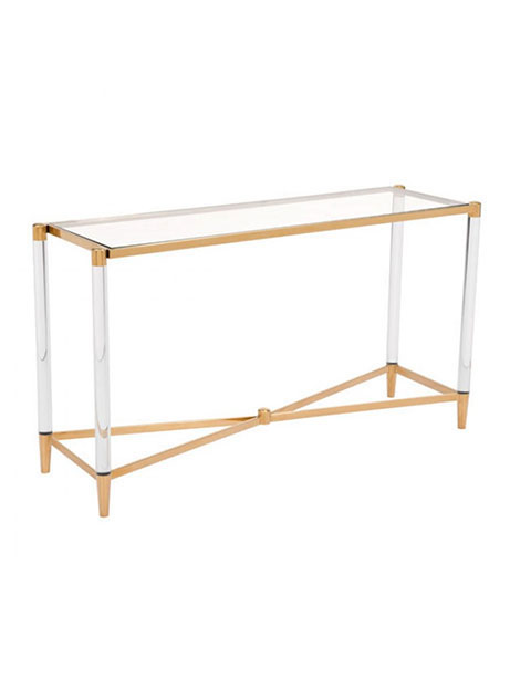 Clear Acrylic Gold Console Table
