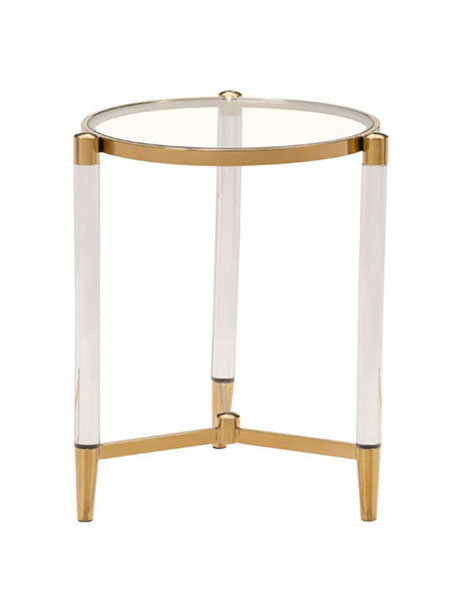 Clear Acrylic Gold Side Table