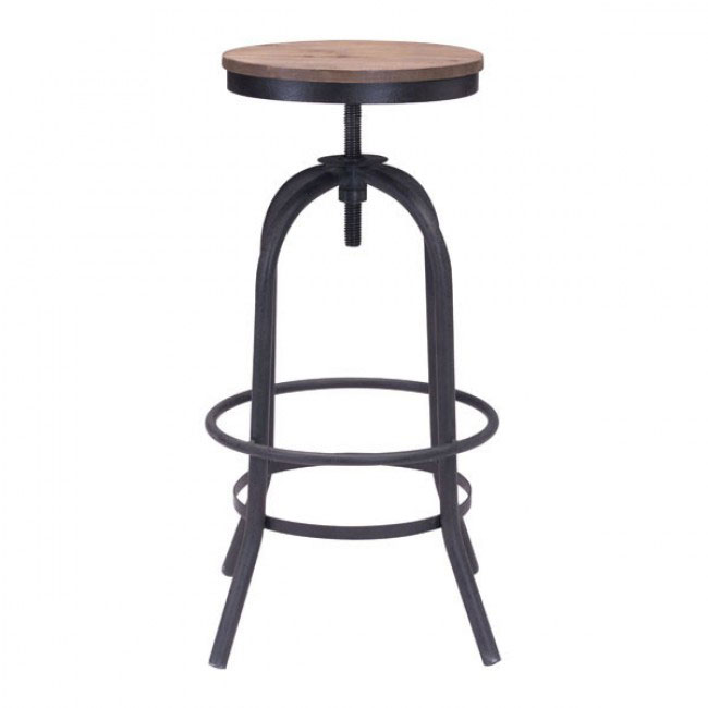 industrial wood swivel barstool 1