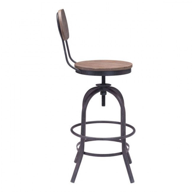 industrial wood swivel counter stool with back 1