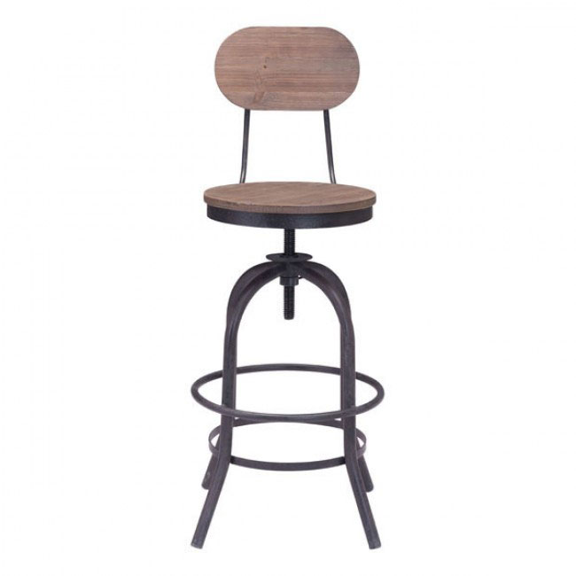 industrial wood swivel counter stool with back 2