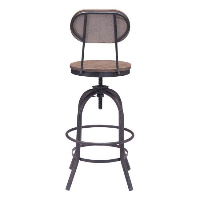 industrial wood swivel counter stool with back 3