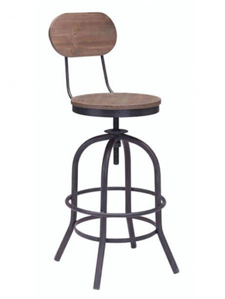 industrial wood swivel counter stool with back